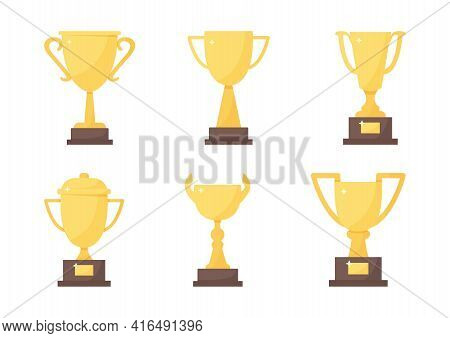 Golden Trophy Cup Set, Vector Sport Award, Champion Icon Isolated On White Background. Winner Illust