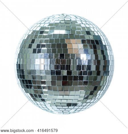Shining Disco Ball dance music event equipment isolated on clear white background