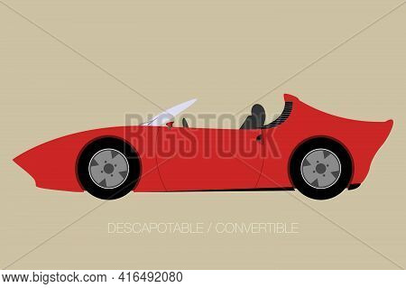 Convertible Car Icon, Side View Of Car, Automobile, Motor Vehicle