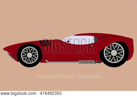 Supercar Flat Design, Fully Editable, Side View
