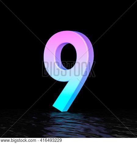 Cyan Magenta Font Number 9 Nine 3d Render Illustration Isolated On Black Background