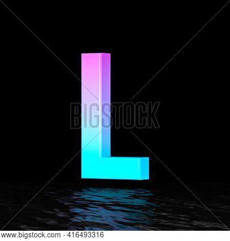 Cyan Magenta Font Letter L 3d Render Illustration Isolated On Black Background