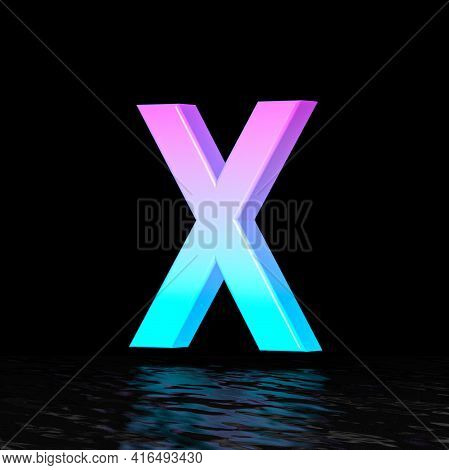 Cyan Magenta Font Letter X 3d Render Illustration Isolated On Black Background