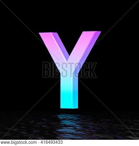 Cyan Magenta Font Letter Y 3d Render Illustration Isolated On Black Background