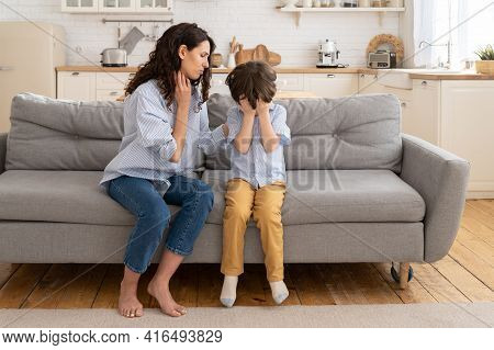 Caring Mom Supporting Little Preschool Son. Beautiful Female Parent Comfort Crying Offended Kid. Sma