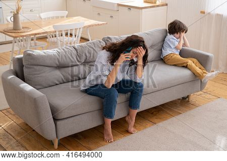 Tired Mom Complain On Little Stubborn Son Misconduct On Phone Call To Dad. Exhausted Young Mom Depre