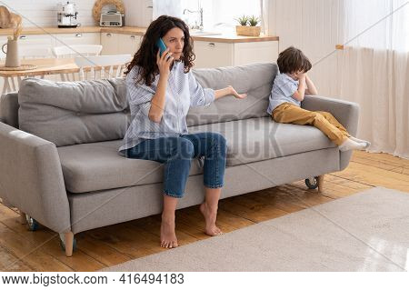 Angry Mother Call And Scold Ex-husband For Forgetting To Pick Up Son For Weekend. Family Relationshi