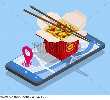 Isometric Online Delivery Food Stir-fried Noodles, Chow Mein, Chinese Cuisine. Asian Noodle Box Appe