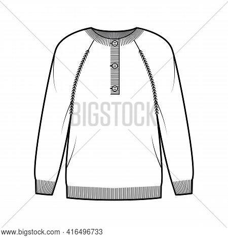 Sweater Henley Neck Technical Fashion Illustration With Rib Crew Collar, Long Raglan Sleeves, Oversi