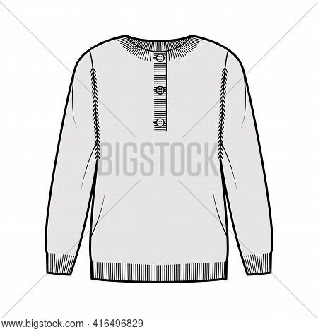 Sweater Henley Neck Technical Fashion Illustration With Rib Crew Collar, Long Sleeves, Oversized, Fi