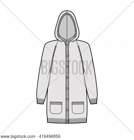 Hooded Dress Cardigan Dress Sweater Technical Fashion Illustration With Long Raglan Sleeves, Relax F