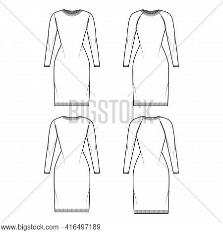 Set Of Crew Neck Dress Sweater Technical Fashion Illustration With Long Raglan Sleeves, Slim Fit, Kn