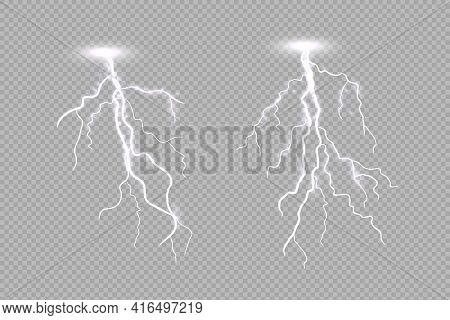 Realistic Lighting Thunderstorm Isolated On Light Transparent Background. Thunderbolt Flare Effect.