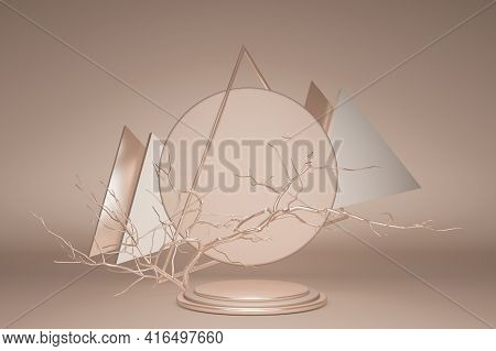 3d Empty Podium In Gold Abstract Composition For Modern Stage Display And Minimalist Mockup. Geometr