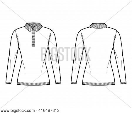 Polo Sweater Technical Fashion Illustration With Rib Henley Neck, Classic Collar, Long Sleeves, Slim