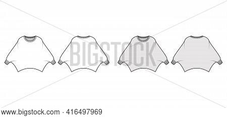 Sweater Batwing Sleeve Technical Fashion Illustration With Rib Oval Neck, Oversized, Hip Length, Kni