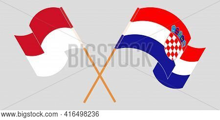 Crossed And Waving Flags Of Indonesia And Croatia
