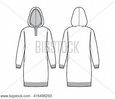 Hooded Dress Sweater Technical Fashion Illustration With Rib Henley Neck, Long Sleeves, Relax Fit, K