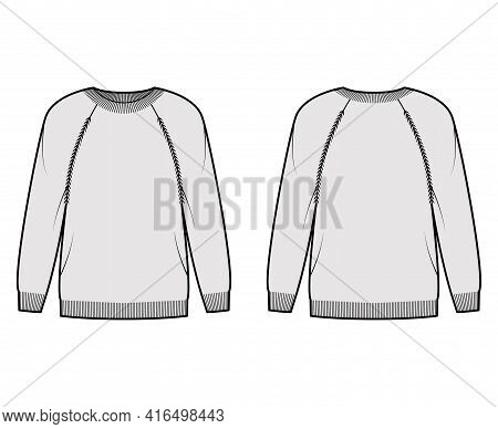 Sweater Technical Fashion Illustration With Rib Crew Neck, Long Raglan Sleeves, Oversized, Thigh Len