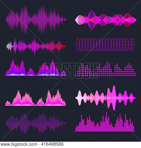 Colorful Sound Waves Collection. Analog And Digital Audio Signal. Music Equalizer. Interference Voic