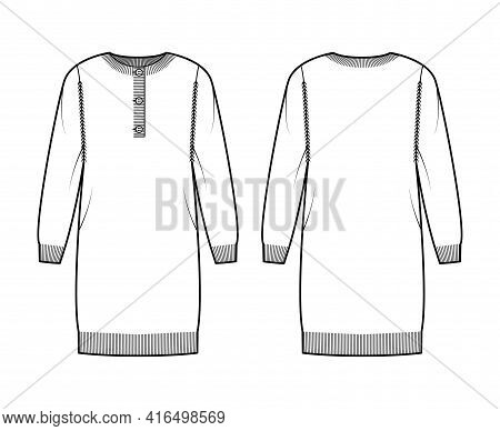Dress Sweater Henley Neck Technical Fashion Illustration With Long Sleeves, Relax Fit, Knee Length,