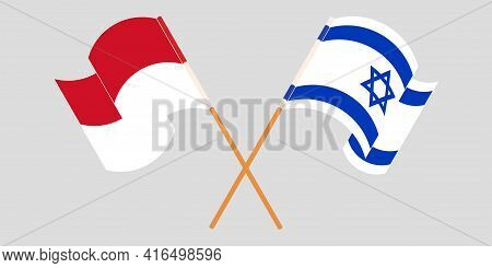 Crossed And Waving Flags Of Indonesia And Israel