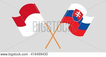 Crossed And Waving Flags Of Indonesia And Slovakia