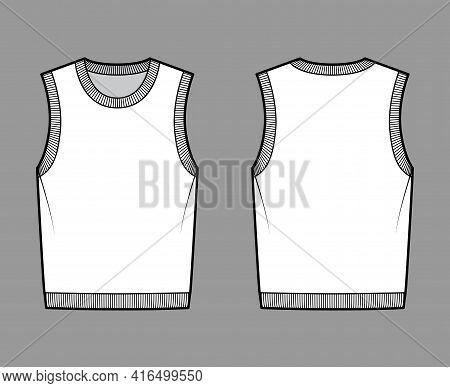 Pullover Vest Sweater Waistcoat Technical Fashion Illustration With Sleeveless, Rib Knit Round Neckl