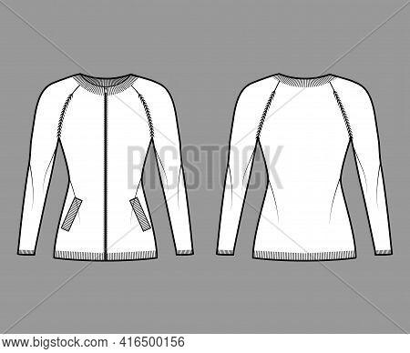 Zip-up Cardigan Sweater Technical Fashion Illustration With Rib Crew Neck, Long Raglan Sleeves, Fitt