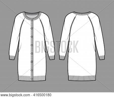 Dress Round Neck Cardigan Sweater Technical Fashion Illustration With Long Raglan Sleeves, Knee Leng