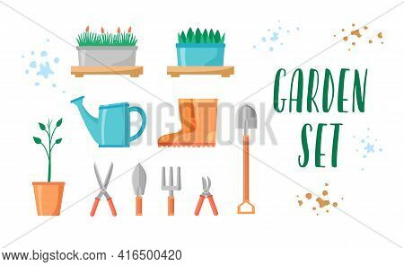 Garden Tools And Plants Set. Gardening Equipment And Items Collection For Farm Or Yard. Rubber Boots
