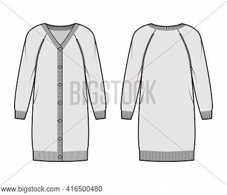 Dress Cardigan Sweater Technical Fashion Illustration With Rib V- Neck, Long Raglan Sleeves, Relax F