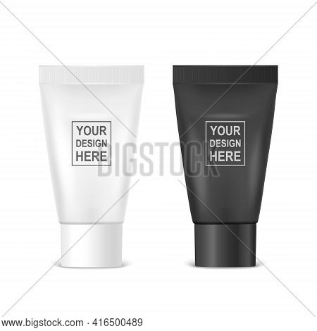 Vector 3d Realistic Plastic, Metal White, Black Tooth Paste, Cream Tube, Packing Set Isolated On Whi
