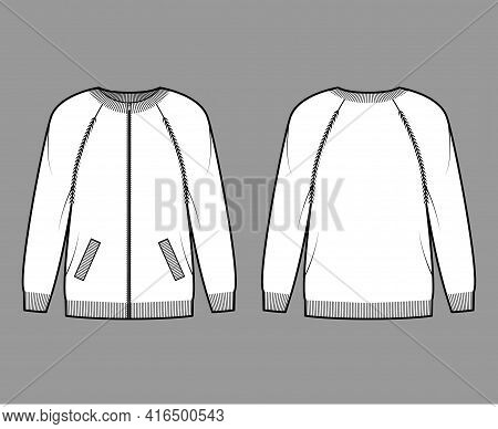 Zip-up Cardigan Sweater Technical Fashion Illustration With Rib Crew Neck, Long Raglan Sleeves, Over