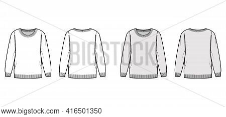 Sweater Technical Fashion Illustration With Round Neck, Long Sleeves, Regular Fit, Fingertip Length,