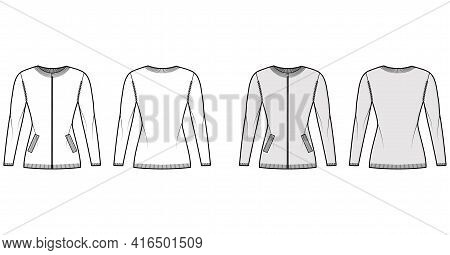 Zip-up Cardigan Sweater Technical Fashion Illustration With Rib Crew Neck, Long Sleeves, Fitted Body