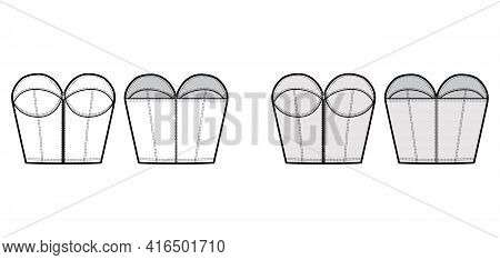 Denim Bustier Top Technical Fashion Illustration With Zip-up Closure, Cups Strapless , Slim Fit, Wai