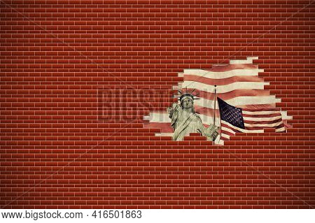 Lady Liberty And American Flag In A Hole In A Brick Wall. Freedom  Concept. Horizontally.