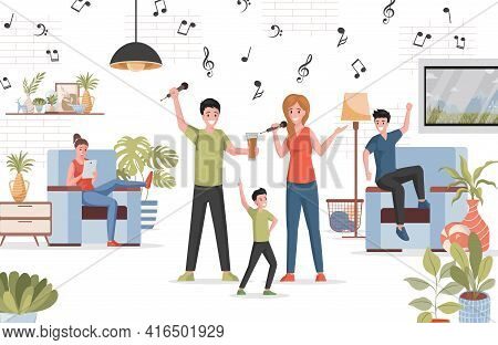 People Spending Time Together At Home Party Vector Flat Illustration. Happy Man, Woman, And Boy Sing