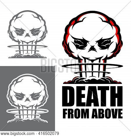Death From Above Symbol Vector Illustration The Deadly Atomic Blast In Skull Shape