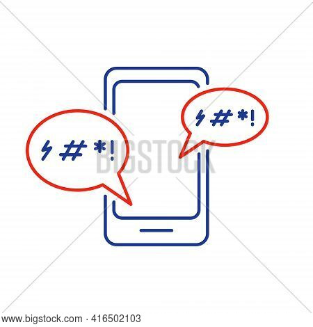 Cyber Bullying Line Icon. Cyberbullying Victim. Abuse, Internet Hate, Swear And Insult Concept. Line