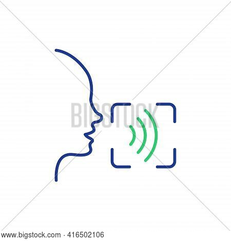 Voice And Speech Recognition Line Icon. Voice Command Icon With Sound Wave. Voice Control. Speak Or