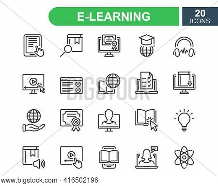 E-learning, Online And Distance Education Line Icon. Online Training, Webinar, Education, Course, El