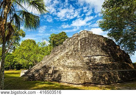 Chacchoben Maya Ruins, One Of The More Popular Ruin Sites In Southern Quintana Roo In Mexico