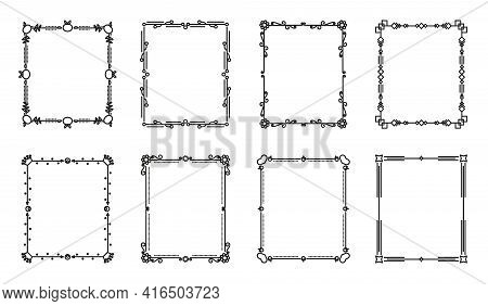 Flower And Leaf Vector Line Frames Square, Dividers On Isolated White. Decorative Ornaments For Scra