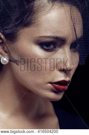 Beauty Brunette Woman Under Black Veil With Red Manicure Close Up, Grieving Widow, Halloween Makeup