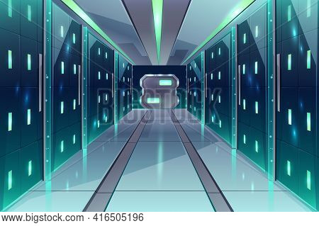 Vector Cartoon Corridor In A Spaceship, Datacenter With Server Racks. The Illuminated Passage In A S