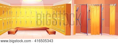 Modern Gym Or Sport Club Comfortable Locker Room Interior Cartoon Vector Background With Two Rows Of
