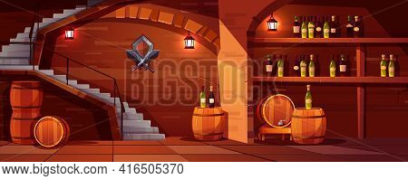 Vector Wine Cellar Background, Cozy Space With Wooden Barrels, Glass Bottles. Alcohol, Winemaking Ro