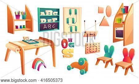 Vector Montessori Set, Elements For Elementary School Isolated On White Background. Kindergarten For